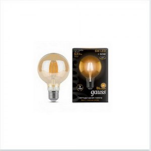 Лампа Gauss LED Filament G95 E27 6W Golden 2400K